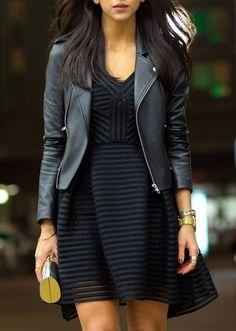 Black Textured Stripe Skater Dress