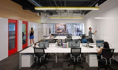 Red & Yellow with White Open Plan Office  #openplanoffice Cubicles.com