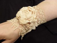 Beaded lace cuff with tea dyed silk rose by lambsandivydesigns, $44.99