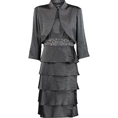 Gunmetal Tier Dress & Bolero