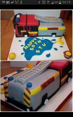 Fire engine birthday cake. All comoketely edible. #fireengine #birthdaycake