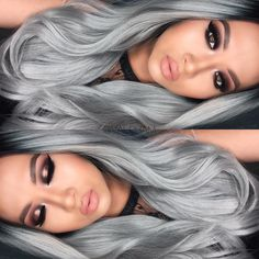 If you're wondering how celebrities and models always seem to have gorgeous hair shades, even if it isn't actually the one that they were born with, then it's time that you start discovering the secr. Grey Hair Wig, Silver Grey Hair, White Hair, Pretty Hairstyles, Wig Hairstyles, Style Hairstyle, Curly Wigs, Hair Wigs, Short Wigs