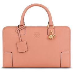 Loewe Amazona Bull-Charm Satchel Bag, Peach featuring polyvore fashion bags handbags red satchel bag red handbags handle satchel roll bag satchel hand bags