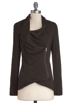 Airport Greeting Cardigan in Chocolate - Short, Brown, Exposed zipper, Pockets, Casual, Long Sleeve, Knit, Exclusives, Variation, Cowl, High-Low Hem