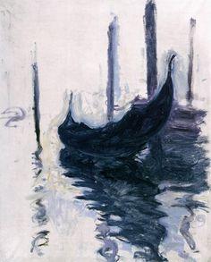 Claude Monet - Gondola in Venice, 1908. Oil on canvas