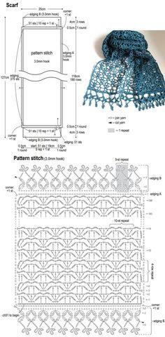 Japanese Crochet Patterns, Crochet Stitches Patterns, Crochet Designs, Crochet Gifts, Crochet Doilies, Crochet Lace, Crochet Shawl Diagram, Crochet Chart, Crochet Scarves
