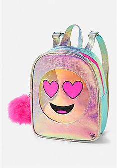 Help her stand out with our collection of fashion bags at Justice. Shop purses, crossbody bags & more - featuring the prints & styles that she loves. Justice Backpacks, Justice Bags, Emoji Backpack, Mini Backpack Purse, Cute Mini Backpacks, Girl Backpacks, Mini Mochila, Unicorn Fashion, Bling Bling