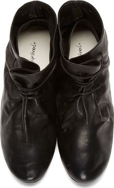 Marsèll: Black Leather Cinched Minimal Shoes