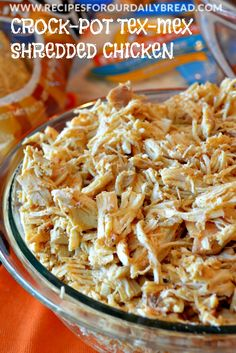 Crock-Pot Tex-Mex Chicken-can use this for so many easy meal ideas http://recipesforourdailybread.com/2013/10/26/crock-pot-tex-mex-shredded-chicken/ #texmex #crockpot #slowcooker