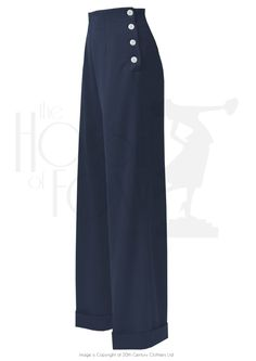 High Waisted Swing Wide Leg in Navy Button trousers outfit ideas for women. 30s Fashion, Fashion Pants, Vintage Fashion, Lolita Fashion, Dope Fashion, Ladies Fashion, Fashion Trends, Smart Casual Work Outfit, 40s Mode
