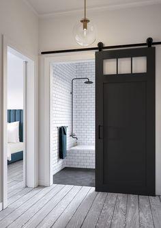 Jeff Lewis Design: Craftsman-style barn door. More