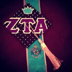 Zeta graduation hat.. Love the coordinating tassel! Blue hat, light blue tassel for KKG