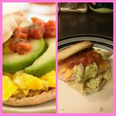Recreation of the egg mac muffin avocado and salsa on left added turkey and cheese om the right