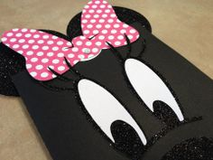 """Minnie Mouse Birthday Invitations for a first birthday. Stylized and glitter-ized, this """"mouse"""" inspired invite includes custom cut elements with cute-n-simple event details, all hidden behind a peekaboo sleeve with a familiar face."""