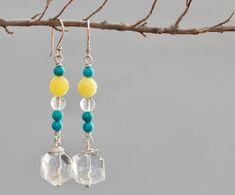 Natural crystal earrings Long sterling silver by FlowerOfParadise