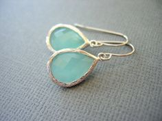 Aqua Earrings, Mint Green Earrings, White Gold, Teardrop, Dangle Earrings, Wedding Jewelry. $26.00, via Etsy.