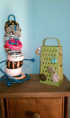: Not Your Usual Jewelry Stands.. a paper towel holder and cheese grater repainted and repurposed