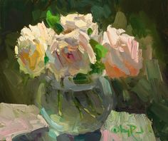 Gregory Packard, Dish of Roses, oil, 10 x - Southwest Art Magazine Painting Still Life, Still Life Art, Paintings I Love, Nature Paintings, Floral Paintings, Rose Paintings, Oil Painting Flowers, Garden Painting, Abstract Flowers