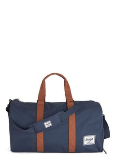 Away with Words Weekend Bag in Solid Navy by Herschel Supply Co. - Blue, Tan / Cream, Solid, Travel, Better, Faux Leather, Casual, Woven, Va...