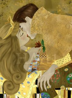 disney art Disney's 'Sleeping Beauty' painted in the style of Gustav Klimt's 'The Kiss'. A Bela Adormecida e o Beijo Disney Princess Art, Princess Aurora, Disney Fan Art, Disney Princesses And Princes, Princess Bubblegum, Disney Kunst, Arte Disney, Disney Magic, Sleeping Beauty Maleficent