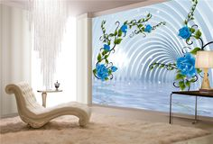 3D Blue-rose on the crystal palace interior design wallpaper, View Blue-rose on the crystal palace wallpaper, clful Product Details from Guangzhou Magic Color Digital Painting Ltd. on Alibaba.com