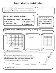 Direct Variation/Proportional Relationships Card Sort   Math