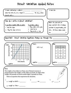 Direct Variation Card Sort! | Math 101 | Pinterest | Cards