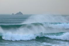 Big Swell at Constantine Bay in North Cornwall, UK