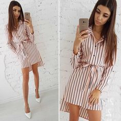 5c975694e4e Striped Button Shirt Dress 2018 Women s Vacation Bohemian Beach Dress Sexy  Deep Loose Dresses Summer Casual Women Dresses