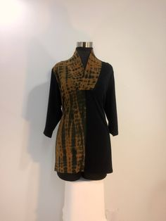 Plus sizes 1X & 2X brown and black tie dye top with shawl collar and 3/4 sleeves in bamboo blend fabric. by qualicumclothworks on Etsy