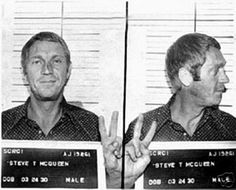 "If Steve McQueen didn't smile through his mugshot, he would have lost his title as ""The King of Cool"". This mugshot was taken in Anchorage, Alaska when McQueen was caught drunk driving. Boys Republic, Celebrity Mugshots, Celebrity Photos, Celebrity Costumes, Celebrity Portraits, Photo Steve Mcqueen, Steeve Mcqueen, Photo Star, Picture Photo"