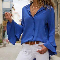 [£ Solid Lapel Flare Sleeve Long Sleeves Button Up Casual Elegant Shirt Blouses - VeryVoga Shirts & Tops, Shirt Blouses, Blouse Styles, Blue Blouse, White Long Sleeve, Blouses For Women, Ladies Blouses, Ideias Fashion, Long Sleeve Shirts