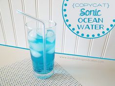 Copycat Sonic Ocean Water by lovebakesgoodcakes, via Flickr~~Sprite, Coconut extract, few drops of blue food coloring....