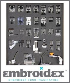 Embroidex - Huge Collection of 32 Sewing Feet for Brother, Babylock, New Home, Janome, Elna, Toyata, Singer, Elna, Simplicity, Necchi, New Home, Kenmore, White  So um, yeah...want! Only $35!