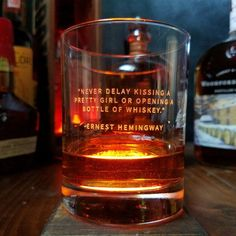 "Whiskey Lovers Engraved Personalized Whiskey Glasses- ""Never Delay Kissing A Pretty Girl or Opening A Bottle of Whiskey"" -Ernest Hemingway Whiskey Glasses, Cigars And Whiskey, Bourbon Whiskey, Whiskey Bottle, Irish Whiskey, Bourbon Drinks, Whiskey Cocktails, Good Whiskey Drinks, Whiskey Gift Set"