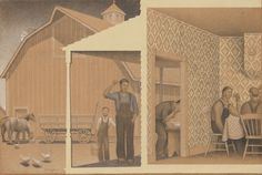 Grant Wood, Dinner for Threshers (left section), 1933 American Gothic, American Art, Grant Wood Paintings, American Scene Painting, Wood Artwork, Magic Realism, Whitney Museum, Do It Yourself Crafts, Post Impressionism