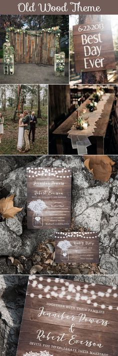 Old Wood Rustic Theme Wedding Inspiration and Matching Wedding Invitation