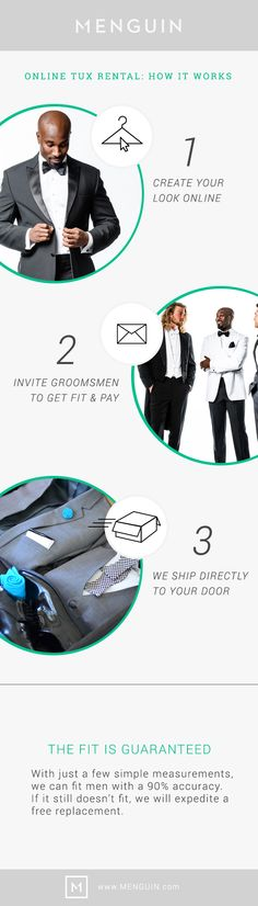 Renting a tuxedo for your wedding has never been easier!  Choose Your Tux Style & Colors. Invite Your Wedding Party. We Will Deliver Right To Your Door - Fit Guaranteed! Save Time | Save Money | Save Weddings | Save Penguins | Menguin.com