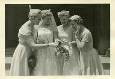 50's Photographer's Photo - Bride Shows Off Wedding Ring to Bridesmaids
