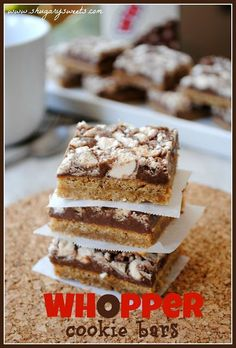 Whopper Cookie Bars- malted milk cookie base topped with #fudge and crushed #whoppers /shugarysweets/