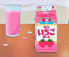 kawaii illustration strawberry milk