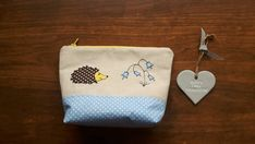 Cute bird applique make up bag using machine free motion embroidery