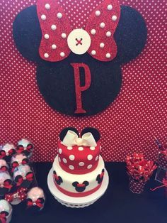 Red Minnie Mouse birthday party cake! See more party ideas at CatchMyParty.com!