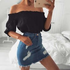 Denim Skirts Outfits Summer Casual