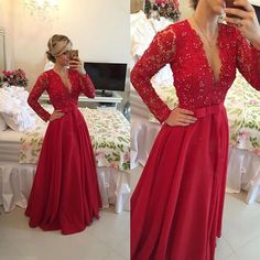 $185.99 Long Sleeves Prom Dress with appliques,Prom Dress Long Sexy, V-neck Prom Party Dress for Women