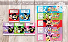 Mickey Mouse Clubhouse Candy Wrapper & Bottle por Partyprintkk