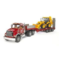 Load the bruder trucks backhoe onto this brand-new Mack truck and move to the next job.  bruder mack granite flat bed trucks