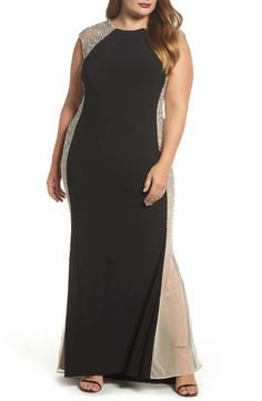 1266e984bb Main Image - Xscape Beaded High Neck Column Gown (Plus Size) Best Dressed  Award