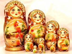 Fall traditional russian nesting doll toy made by Viktoriyasshop, $155.00