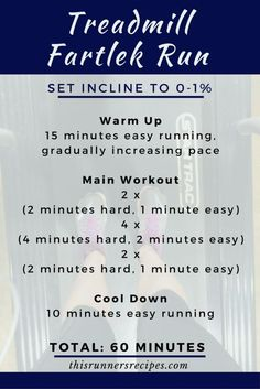 Try this treadmill Fartlek Run for a fun workout to pass the time on the treadmill while increasing your running speed and fitness.